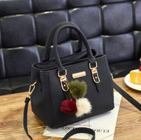 Fashion women hairball ornaments totes solid high quality handbag hotsale party purse ladies messenger crossbody shoulder bags