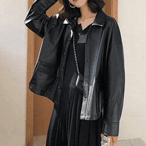 Leather Shirts Women Clothes Autumn Winter Outwear Black Tops