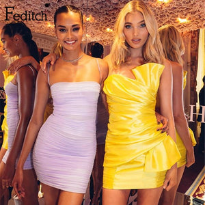 Feditch Neon Yellow Party Dresses Women Off Shoulder Backless Satin Mini Dress Female Bodycon Ruched Pleated Sexy Club Vestidos