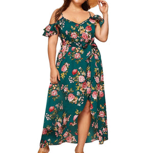FeiTong Fashion Women Plus Size V-neck Dress Cold Should Camis Print Short Sleeve