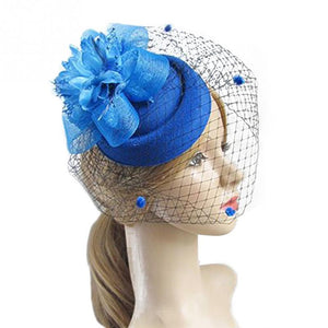 Female Fascinating Elegant Hair Clip Hat Bowler Feather Flower Veil Wedding Party Hat Women Hair Accessories for Photo Shoot #25