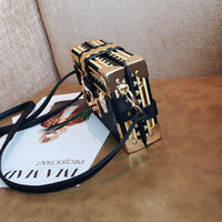 Female Fashion Box Women Bag Rivets Hit Color Women Messenger Bag Small Square Bag New Shoulder Package Europe Fashion Mini