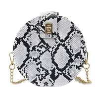 Female Fashion Casual Snake Print Retro Serpentine Chain Round Women Crossbody Handbags Small PU Leather Shoulder Messenger Bag