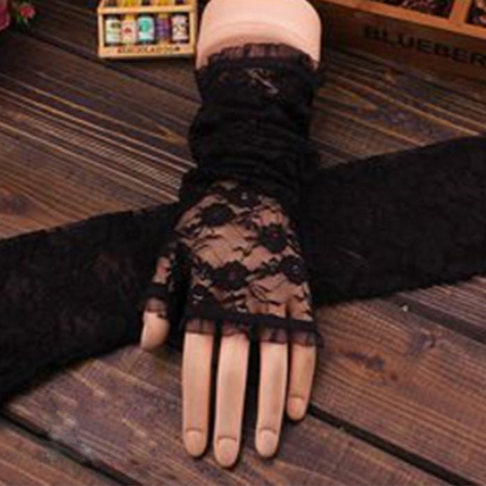 Fingerless Embroidery Lace Solid Color Elbow Length Mittens Hook Finger