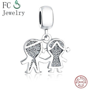 Fit Original Pandora Charms Bracelet & Necklaces 925 Sterling Silver Beads Charm Couple Little Cute Girl Boy Pendant DIY Jewelry