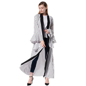 Flare sleeve stripe new fashion kaftan Muslim women outer abaya