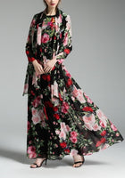 Floral Maxi Dress Long Sleeve Elegant Vintage Long Tunic Chiffon Pink Flower Beach Plus Size Summer Dress Women Vestidos