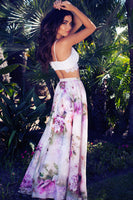 Floral Print Skirt Empire New Chiffon BOHO Ladies Tulle Skirt Womens Jersey Gypsy Maxi Full Long Skirt Summer