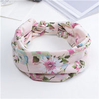 Floral Print Turban Knot Headwrap Sports Elastic yoga Hairband Fashion Cotton Fabric Wide headband For Women Hair accessoires
