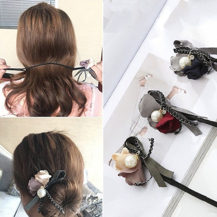 Flower Hair Accessories Magic Bun Maker Girl Donut  Quick Messy Women Pearl Hair Bands French DIY Hairstyle Headband Braider
