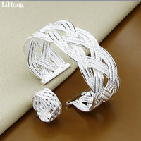 For Women Silver Plated Jewelry Set Fashion Interwoven Open Bangle Ring 2 Piece Bridal Wedding Dress Jewelry Sets
