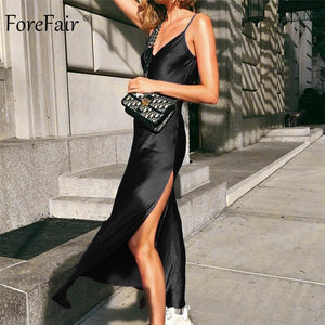 Forefair Sexy Maxi Satin Dress Summer Women Slit V Neck High Waist Off Shoulder Black Red Slip Silk Long Dress Party Club