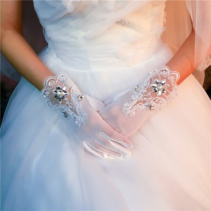 Formal Wrist Length Lace Short Beaded Crystal Bridal Gloves Full Fingers