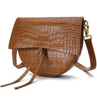 FoxTail & Lily Two Straps Crocodile Pattern Saddle Bag Women Cow Leather Handbags Luxury Designer Small Shoulder Crossbody Bags