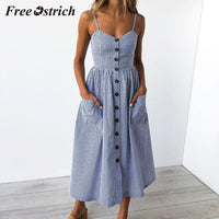 Free Ostrich 2019 Women Sexy Printing Buttons Off Shoulder Sleeveless Dress Princess Dress Fresh Beach Style Blue Striped Dress