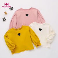Fashion Baby Girls Cotton Soft Long Sleeve Heart Print Soft Toddler Kids baby girl tops Shirt Clothes camiseta