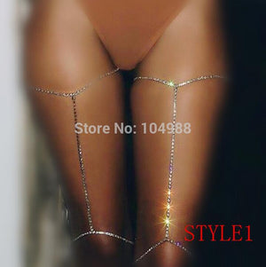 Free Shipping Women Fashion Silver Rhinestone Body Chains Jewelry Unique Rhinestone Waist Thigh Chains Jewelry 3 Colors