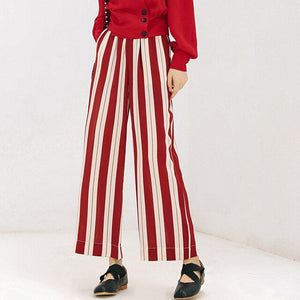 Frilled High Waist Striped Pants Women Fashion Clothing Elastic Waist Ladies Trousers 2018 Spring Autumn Casual Wide Leg Pants