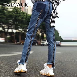 GALCAUR Korean Zipper Patchwork Women Jeans High Waist Hit Color Slim Irregular Hem Denim Long Pants Female Fashion Summer 2019