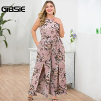 GIBSIE Plus Size Elegant O-Neck Sleeveless Slit Long Maxi Jumpsuit With Belt Floral