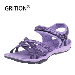 GRITION Sandals Women Summer Outdoor Casual Flat Print Ladies Comfortable Breathable Shoes 2019 New Female Beach Big Size Shoes