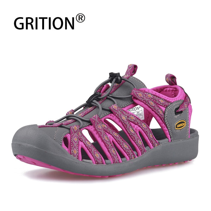 GRITION Women Sandals Beach Sport Walking Shoes Flat Outdoor Summer Ladies Breathable Big Size Lazy Footwear 2019 New Fashion