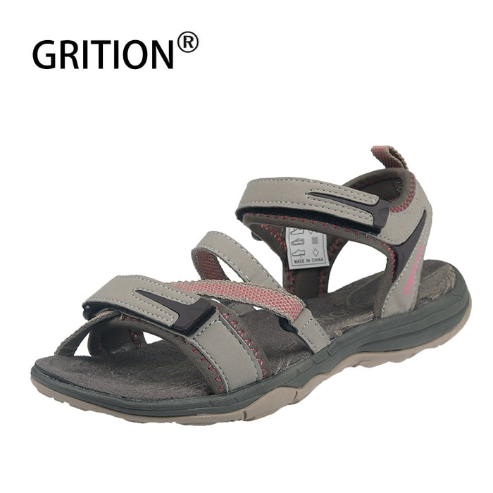 GRITION Women Sandals Outdoor Flat Beach Shoes Ladies Walking Lightweight Open Toe Trekking Sports Casual Comfortable Adjustable