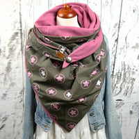 Women Warm Scarves Printing Button Soft Wrap Casual Shawls 2020