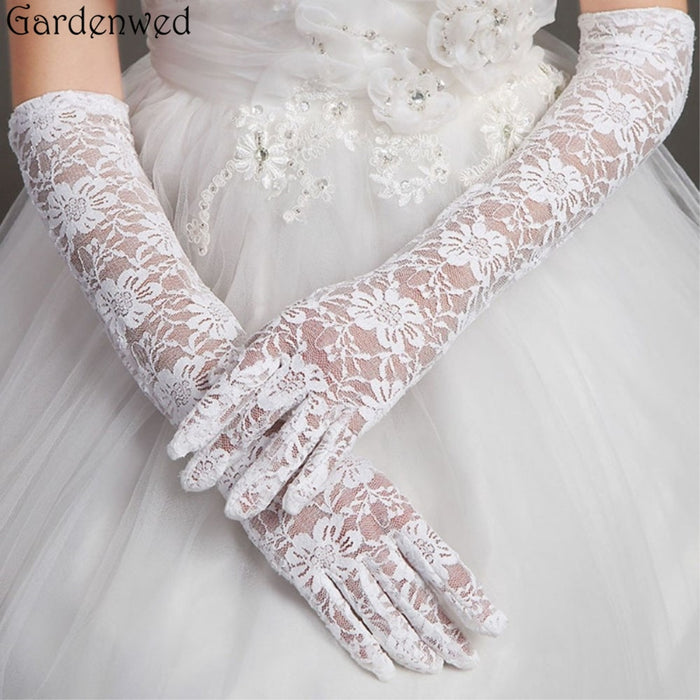 Gardenwed Women Bridal Gloves Elbow Length Full Finger Lace Wedding Accessories