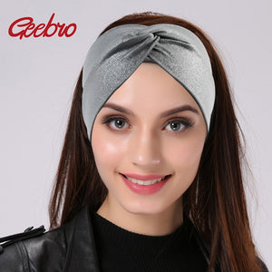 Geebro Silver Dot Wide Headbands For Women Summer Fashion Cross Knotted Turban Knitted Headband for Girls Wrap Bow Hairband