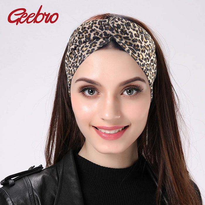 Geebro Women's Twist Headband Elastic Stretch Hairbands Fashion Plain Turban Headbands Yoga Headwrap Spa Head Band for Girls