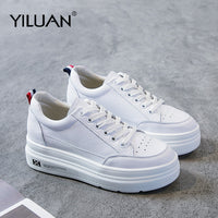 Genuine Leather Platform Breathable Sneakers women shoes Black Increase 7cm basic 2020 Autumn White Casual Shoes woman Student