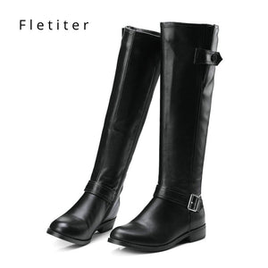 Genuine leather knee high winter boots women Low heels fashion women boots Plus size Black womens shoes Flats Brand fletiter