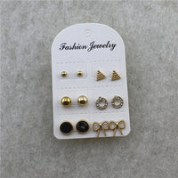 Geometric Combination style stud earings inlaid semi-precious stones round heart shaped cute 6 pieces set of earrings--3