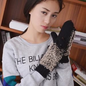 Girl Novelty Cartoon Winter Gloves 8 Colors For Women Knit Warm