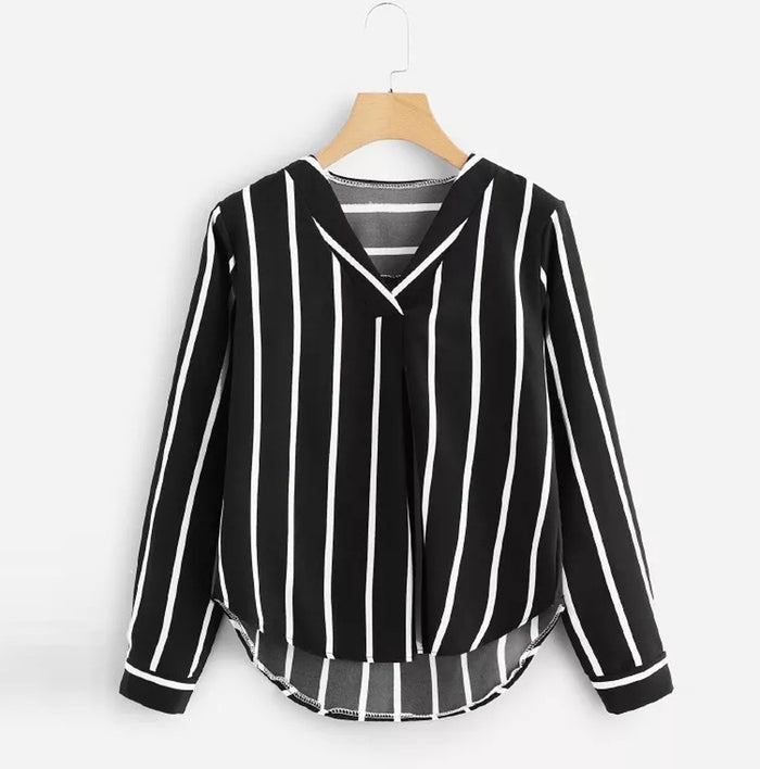 Girl V Neck Stripe Shirt  Women Casual Autumn Long Sleeve Irregular Blusas fashion female Long Sleeve v-neck Striped Top t-shirt