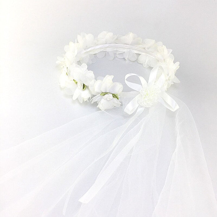 Girl little princess hair band 2 layer tulle bride bridesmaid veil garland wedding party wreath rose lotus leaf flower head with