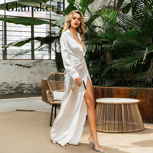 Glamaker Silver white satin robe shirt dress 2019 vintage elegant winter dress Deep V bodycon sexy long dress vestidos de fiesta