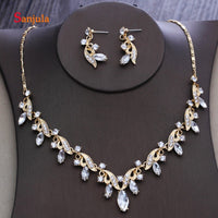 Gold Necklace Women Party Jewelry Wear Crystals 2 Pieces Wedding Jewelry Sets for Bridal bijoux mariage JS04