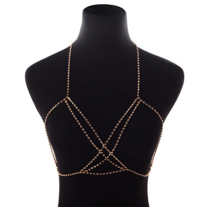 Gold Silver Color Rhinestone Multi Layers Cross Bra Chest Belly Chains Necklace Body Chain Summer Beach Bikini Harness Jewelry