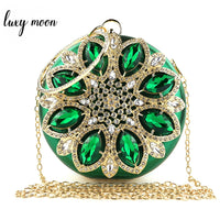 Green Clutch Purse Crystal Bridal Wedding Purse Exquisite Women Evening Clutch Bag Round Shape Chain Handbags Party Shoulder Bag