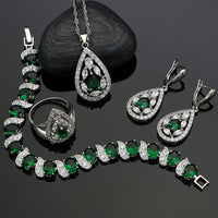 Green Cubic Zirconia White Crystal Jewelery 925 Sterling Silver Jewelry Sets Earrings/Pendant/Necklace/Ring/Bracelet For Women