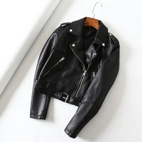 Green Leather Jackets Women Moto Bomber Faux Leather Biker Jacket