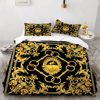 2/3 Pieces Ancient Style Bedding Set Iron Chain Duvet Cover Golden Flower Quilt Cover 2020