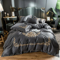 New Grey embroidery Bedding set 100% cotton