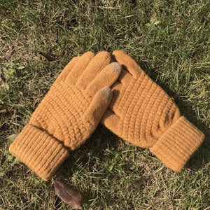 H Solid Stretchy Gloves Women Knitted Mittens Winter Warm Full Finger