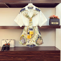Women Summer Fashion Print Scarf Bow Shirt Top + Wide Leg Short Set 2 Piece Outfits Female