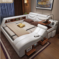 New Modern Furniture Sofa Bed Smart Message Tatami Bed Leather Bed