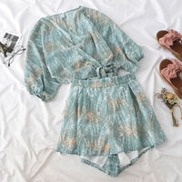 Heliar High-Waisted Short and V-neck Printed Blouses Two Pc Outfits 2019 Summer Women