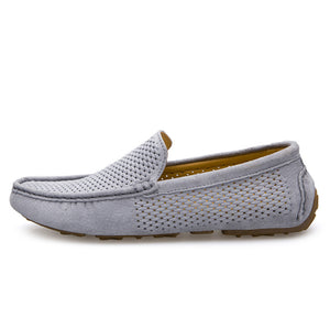 Men Loafers Hole Out Breathable Genuine Leather Casual Shoes Slip-on Men Business Driving